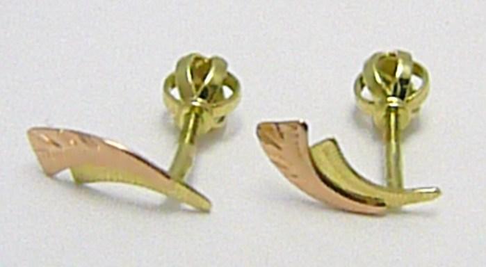 Zlaté dvoubarevné náušnice na šroubek 585/0,97gr P272 POŠTOVNÉ ZDARMA!