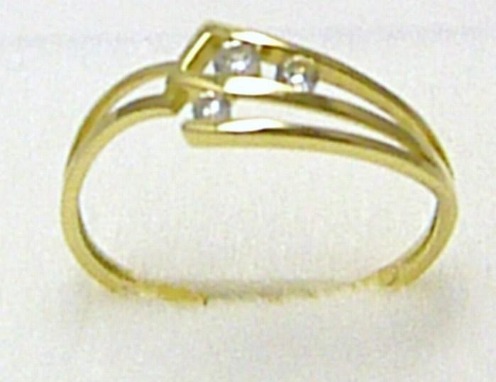 Velký zlatý prstýnek se třemi zirkony vel.63 585/1,6 gr P280 POŠTOVNÉ ZDARMA! (1810324)