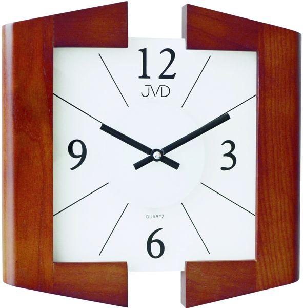 Skleněné dřevěné luxusní nástěnné hodiny JVD N12047./41