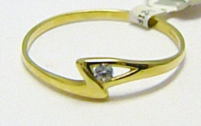 Zásnubní jemný zlatý prstýnek ze žlutého zlata 585/0,70 gr vel. 54 P305 (4010029)