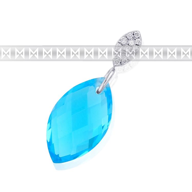 Diamantový zlatý přívěsek s diamanty 13ks a světle modrým velkým topazem 4.20ct POŠTOVNÉ ZDARMA! (3870527-0-0-93)