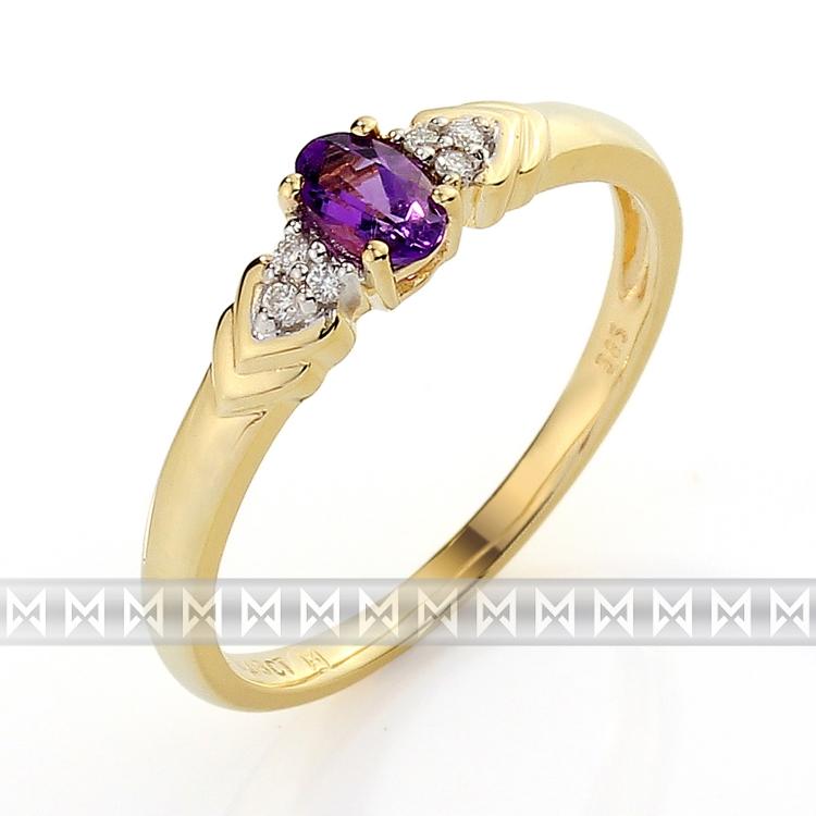 Luxusní zásnubní zlatý prsten s diamanty 6ks - 0,03ct a fialovým ametystem 0,2ct POŠTOVNÉ ZDA
