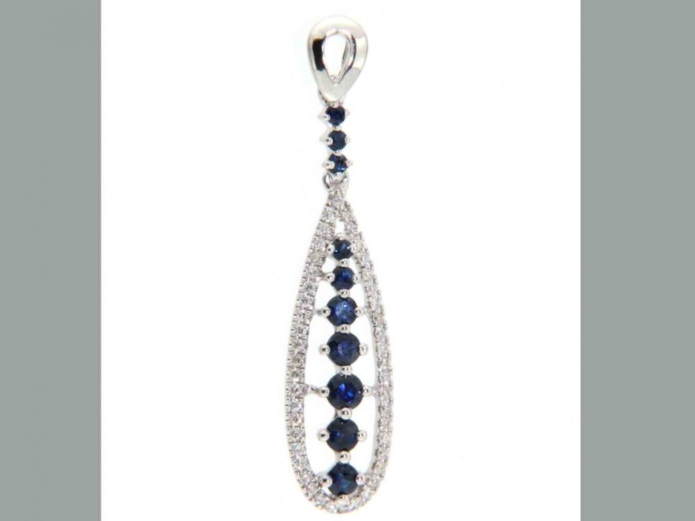 Luxusní přívěsek z bílého zlata posetý diamanty a modrými pravými safíry 1,10 gr POŠTOVNÉ ZDARMA! (4270133-0-0-92)