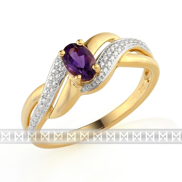 Zásnubní luxusní zlatý prsten s diamanty a fialovým velkým ametystem 1ks 0,47ct POŠTOVNÉ ZDA