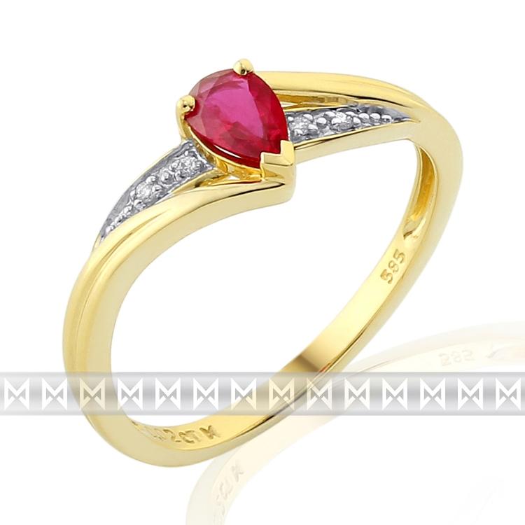 Luxusní zásnubní zlatý prsten s velkým červeným pravým rubínem (slza) 1ks 0,37ct
