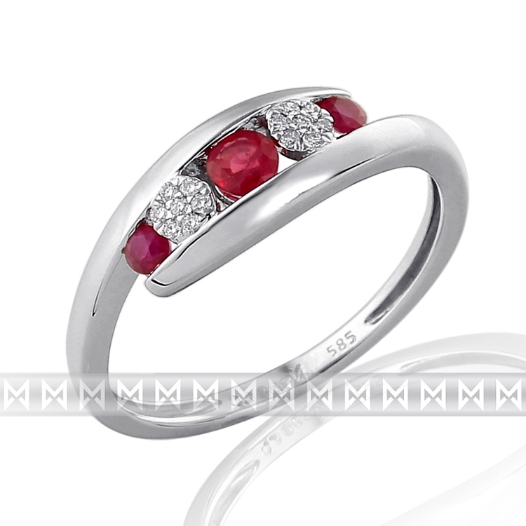 Luxusní dámský prsten z bílého zlata posetý diamanty a červenými rubíny 3x0,29ct