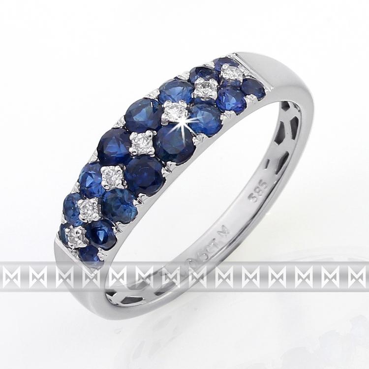d9088e46f Luxusní diamantový prsten z bílého zlata s diamanty a modrými safíry  POŠTOVNÉ ZDARMA!
