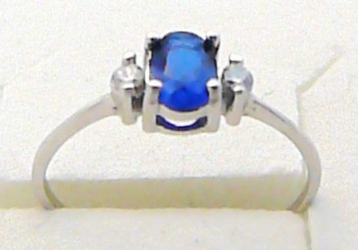 Zásnubní zlatý prsten z bílého zlata s modrým safírkem 585/1,15 gr vel. 56 P319 POŠTOVNÉ ZDARMA! (1860148)