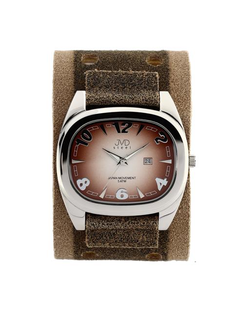 Dámské elegantní hranaté hnědé hodinky JVD steel J1071.2