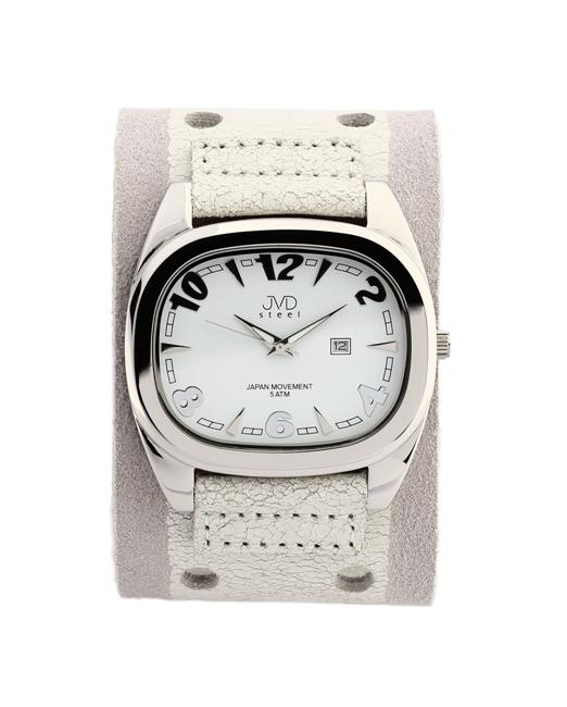 Dámské elegantní hranaté bílé hodinky JVD steel J1071.3