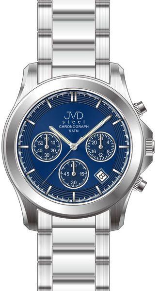 Luxusní ocelové voděodolné hodinky JVD steel J1082.2 - chronograph a stopky 5ATM