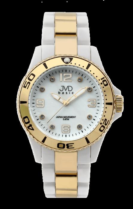 Zlacené voděodolené ocelové Náramkové hodinky JVD basic J6006.1 - 5ATM (POŠTOVNÉ ZDARMA!!)