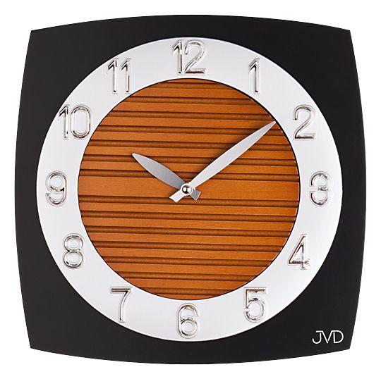 Skleněné dřevěné moderní nástěnné hodiny JVD N11043.B