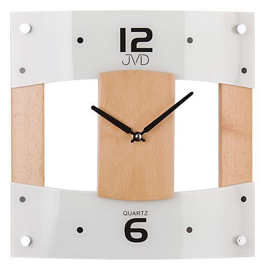 Skleněné dřevěné nástěnné hodiny JVD N11042A