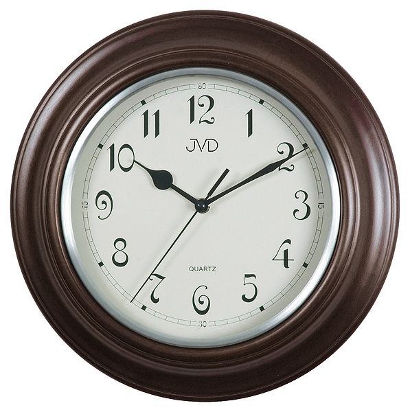 Historické tmavě hnědé nástěnné hodiny JVD basic N27043/C