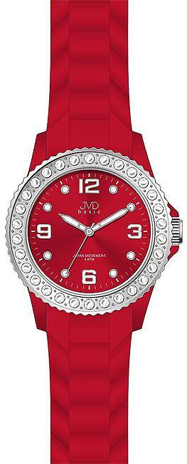 Červené moderní silikonové hodinky JVD basic J6003.3 s broušenými kameny
