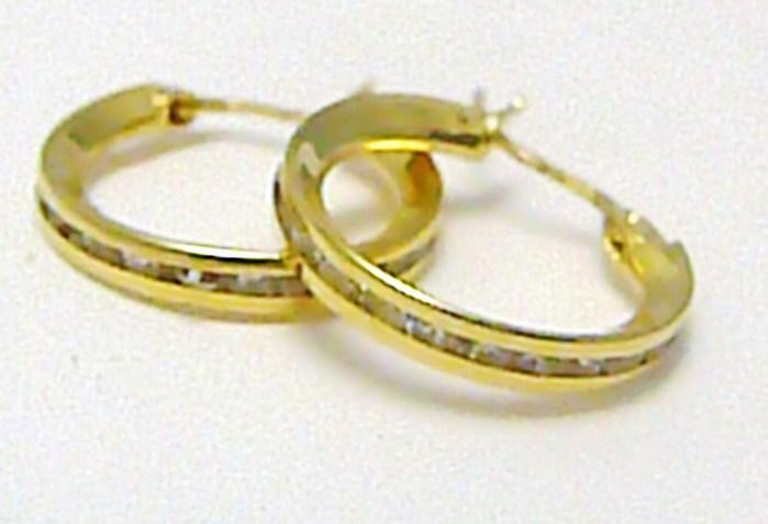 Zlaté kruhy - náušnice poseté zirkony - průměr 15 mm 585/1,1 gr P323 POŠTOVNÉ ZDARMA!