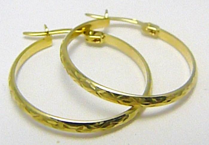 Velké zlaté kruhy - zlaté kroužky s gravírováním 20mm 585/1,02 gr P324 POŠTOVNÉ ZDARMA! (1431234)
