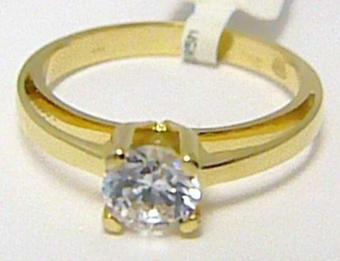 Zásnubní luxusní mohutný zlatý prsten s velkým zirkonem 585 2 1a4fe193c15