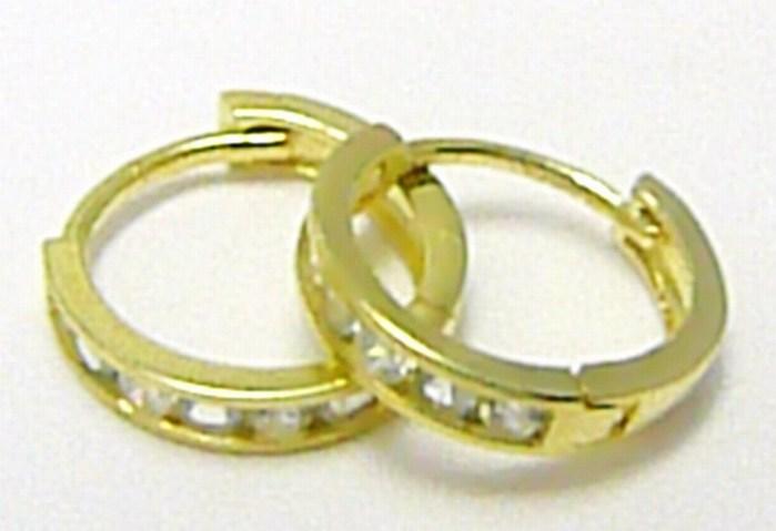 Zlaté dámské náušnice - zlaté kruhy se zirkony pr. 11 mm 585/1,0 gr P326