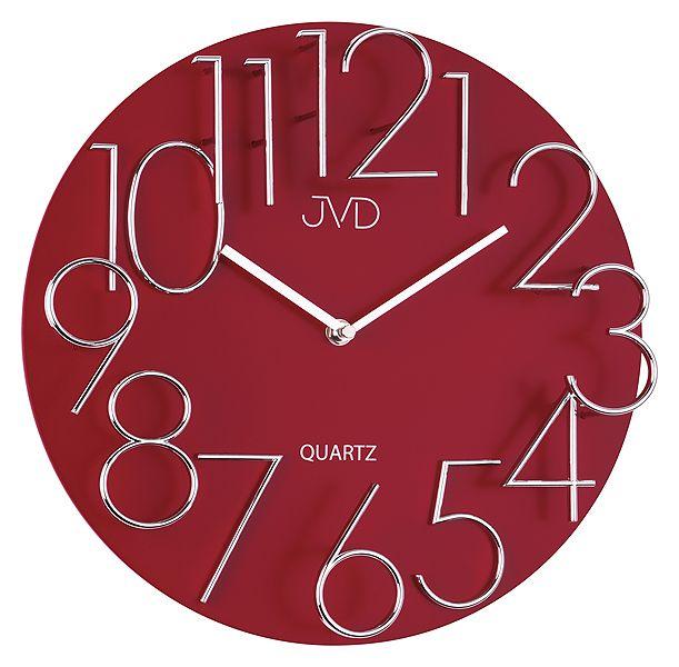 Exkluzivní designové moderní červené hodiny JVD quartz HB10