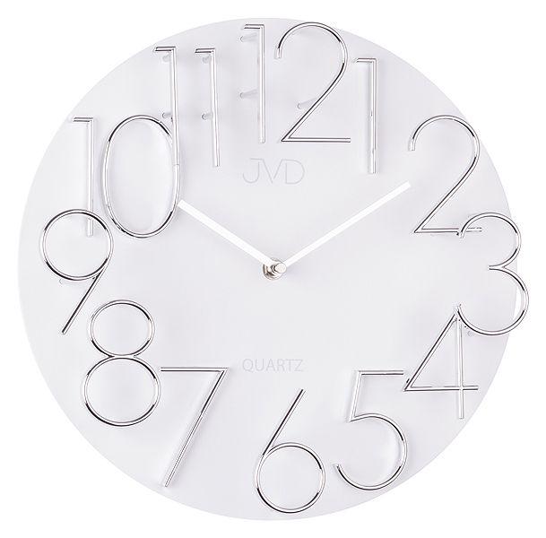 Exkluzivní designové moderní bílé hodiny JVD quartz HB08
