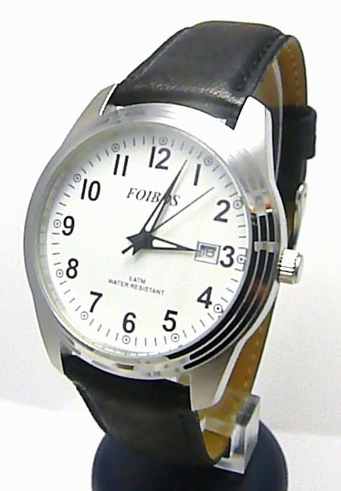 Pánské ocelové módní hodinky voděodolné Foibos 6299.3 - 5ATM na černé kůži 8ce6aa153e
