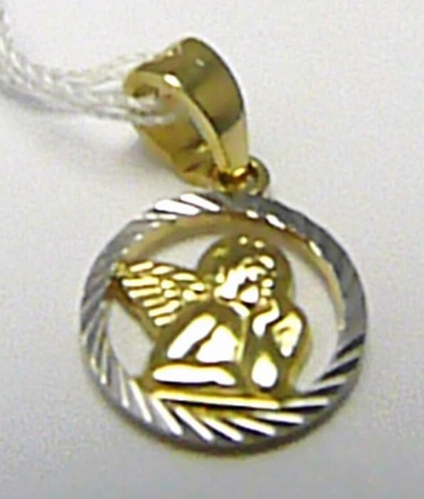 Krásný zlatý anděl v bílém a žlutém zlatě - andělíček 585/1,00gr 1420755 (POŠTOVNÉ ZDARMA!! 1420755)