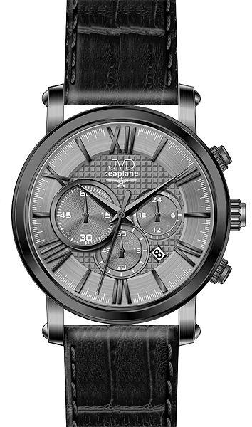 Pánský luxusní chronograf - hodinky JVD seaplane W73.1 na kůži se stopkami 5ATM