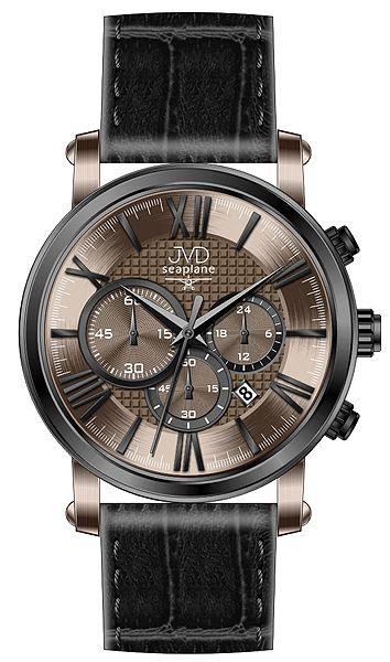 Pánský luxusní chronograf - hodinky JVD seaplane W73.2 na kůži se stopkami 5ATM POŠTOVNÉ ZDARMA!