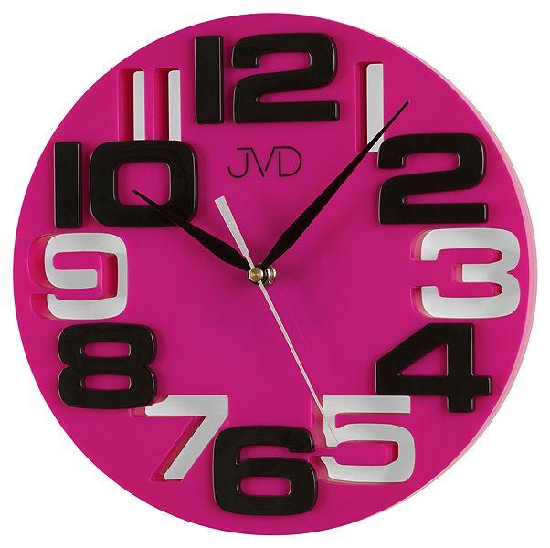 Fialkovo černé designové nástěnné hodiny JVD H107.5
