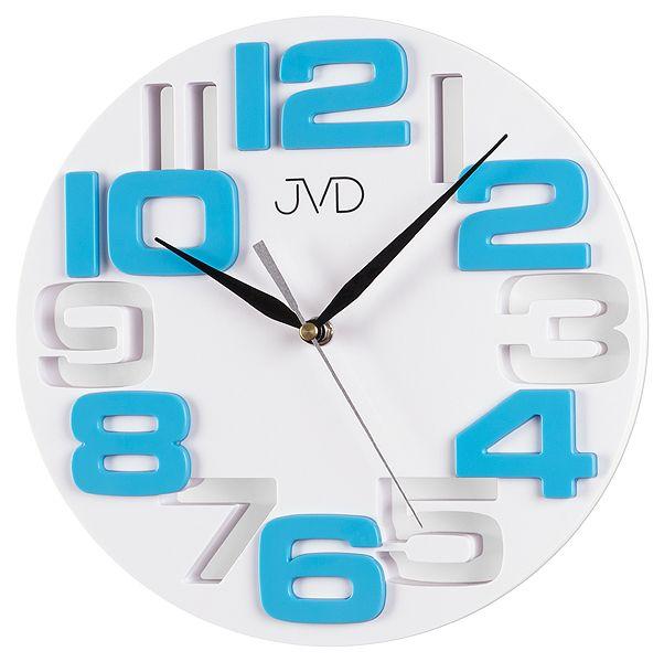 Světle modré designové nástěnné hodiny JVD H107.6