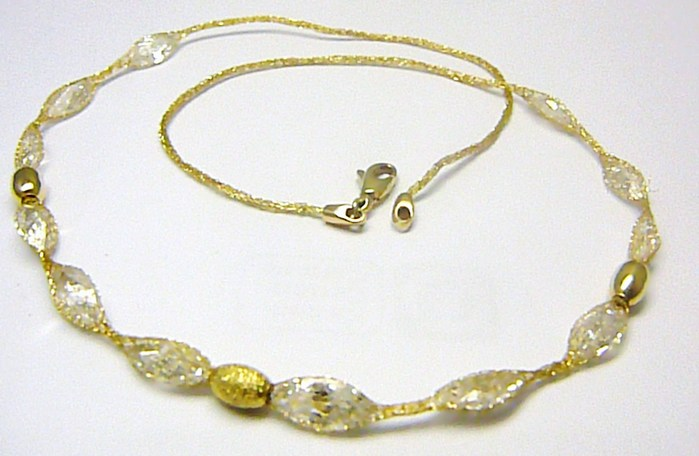 Mohutý luxusní zlatý náhrdelník s velkými křišťály v zlaté síťce 585/6,58gr H274 POŠTOVNÉ ZDARMA!