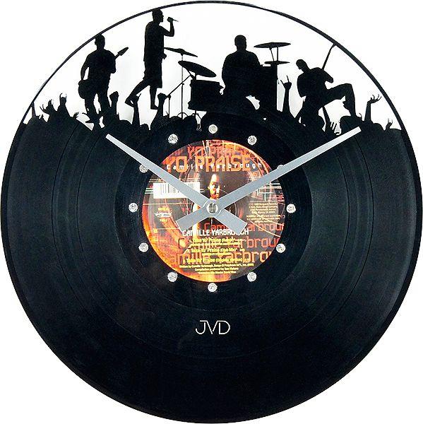 Nástěnné hodiny design JVD HJ61 ze skutečné gramodesky
