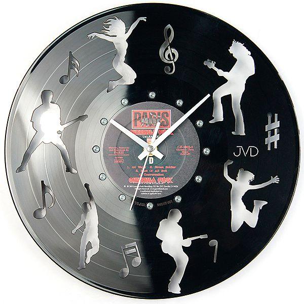 Nástěnné hodiny design JVD HJ62 ze skutečné gramodesky (motiv kapely) (12)