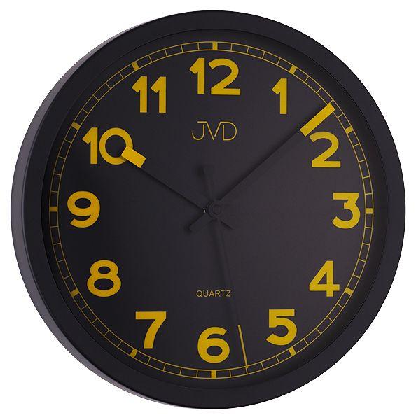 Černo / žluté luxusní moderní hodiny JVD quartz HA12.1