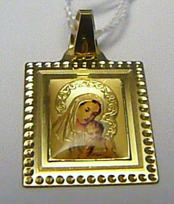 Zlatý přívěsek - zlatá madonka s dítětem v gravírované destičce 585/0,97gr H285 (POŠTOVNÉ ZDARMA!!)