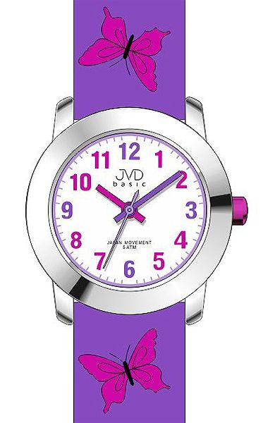 Dívčí dětské fialkové hodinky JVD basic J7142.4 s motivem motýlka