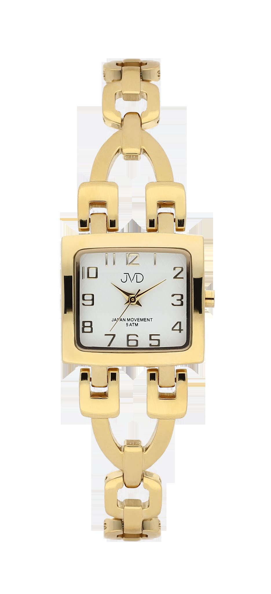 Zlacené elegantní hranaté dámské hodinky JVD steel J4127.3 - 5ATM 8ea7e5925d