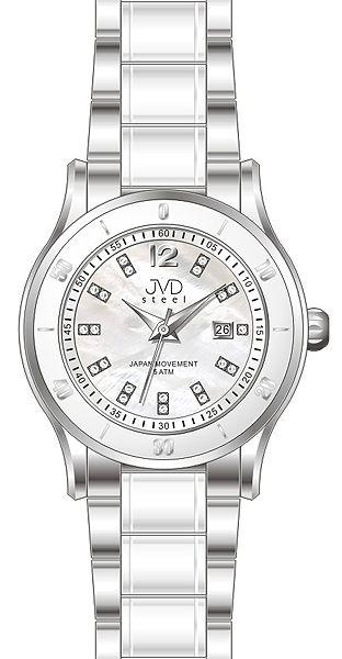 Dámské keramické bílé hodinky JVD steel J4125.1 s perleťovým číselníkem