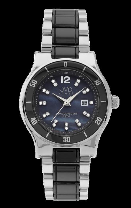 f4930483899 Dámské keramické černé hodinky JVD steel J4125.3 s perleťovým číselníkem  POŠTOVNÉ ZDARMA!
