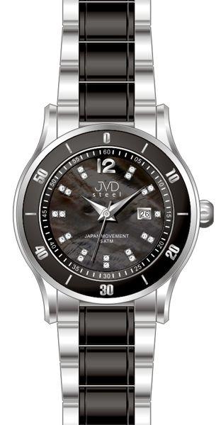 Dámské keramické černé hodinky JVD steel J4125.3 s perleťovým číselníkem POŠTOVNÉ ZDARMA!