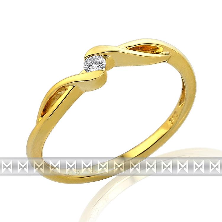 Zásnubní diamantový prsten ze žlutého zlata 1ks 0,05ct POŠTOVNÉ ZDARMA! (3810698-0-50-99)