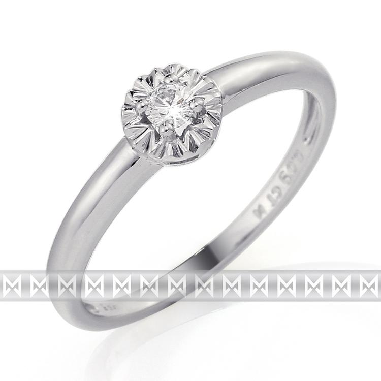 Zásnubní diamantový prsten z bílého zlata s velkým diamantem 1ks 0,08ct POŠTOVNÉ ZDARMA! (3861323-0-56-99)