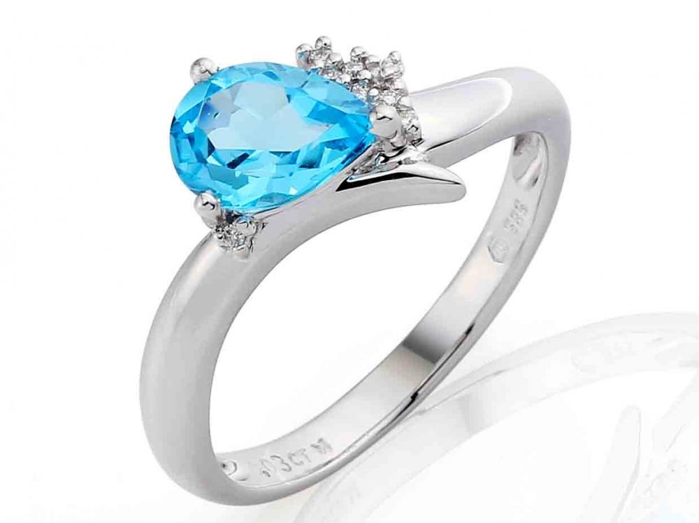 Luxusní diamantový prsten s pravým modrým topazem 1 ks - 1,25ct POŠTOVNÉ ZDARMA!