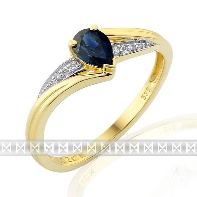 Luxusní diamantový zásnubní prsten s modrým safírem 1 ks 0,62ct POŠTOVNÉ ZDARMA! (3811949-5-54-92)