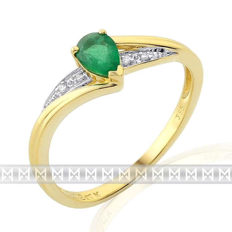 Luxusní diamantový prstýnek zásubní se zeleným smaragdem 1 ks 0,41ct POŠTOVNÉ ZDARMA!