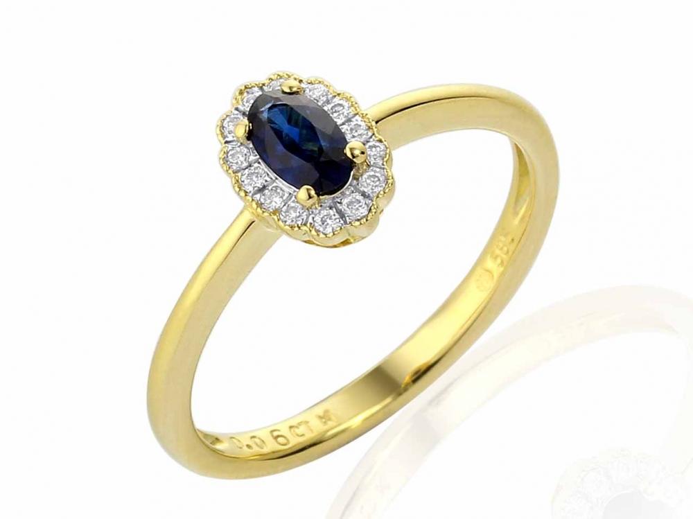 Diamantový zlatý prsten alá Kate Middleton s pravým modrým safírem POŠTOVNÉ ZDARMA! (3811083-5-52-92)