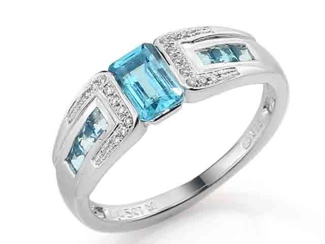 Prsten s diamantem, bílé zlato briliant, modrý topaz (blue topaz) 3861721-0-54- POŠTOVNÉ ZDARMA! (3861721-0-54-93)