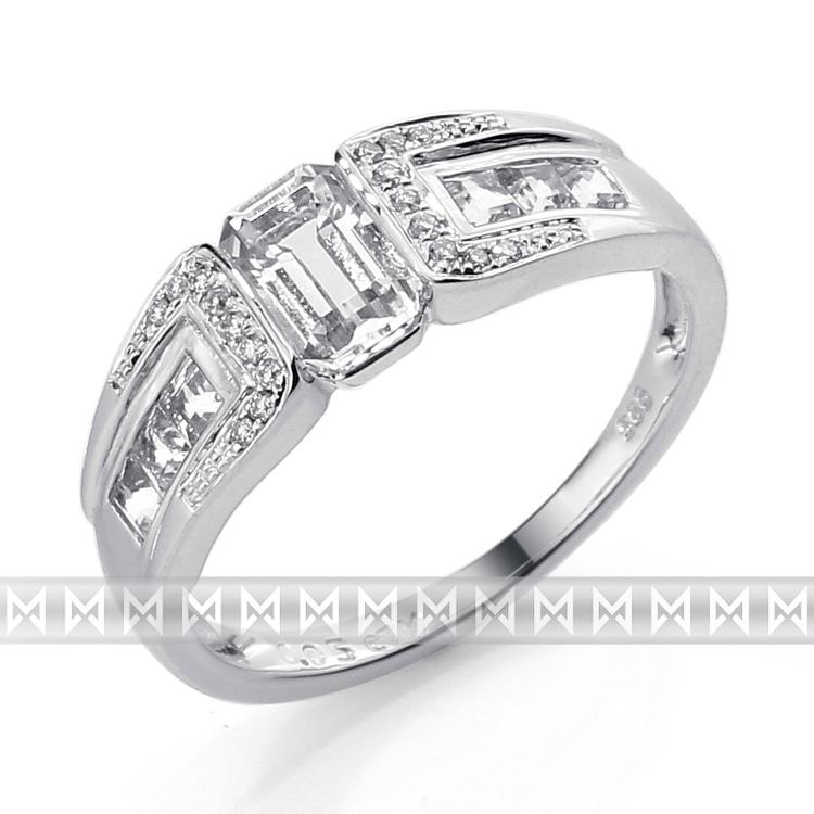 Prsten s diamantem, bílé zlato briliant, černý briliant 3861723-0-53-97 POŠTOVNÉ ZDARMA! (3861723-0-53-97)